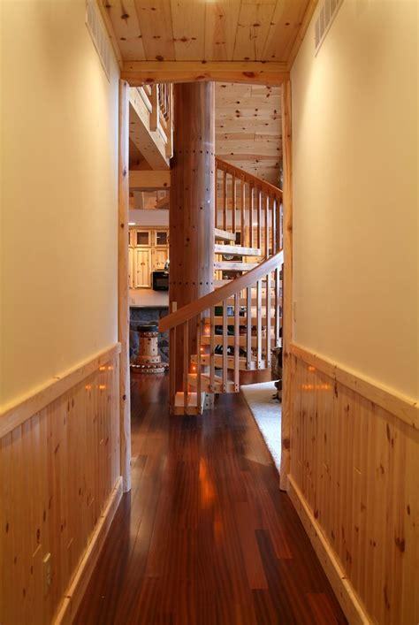 hallway  vertical knotty pine paneling  spiral