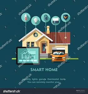 Welches Smart Home System : smart home flat design style vector stock vector 296608013 ~ Michelbontemps.com Haus und Dekorationen