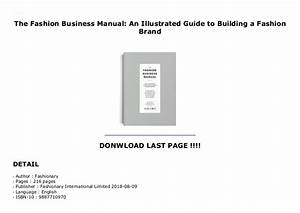 The Fashion Business Manual  An Illustrated Guide To