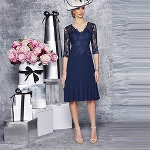 Navy blue mother of the bride dress half sleeve lace for Navy blue dress wedding guest
