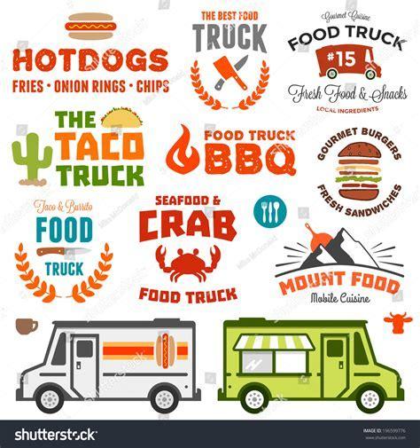Set Food Truck Logo Graphics Truck Stock Vector 196599776