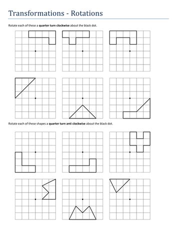 transformations rotations no axes worksheet by tristanjones teaching resources