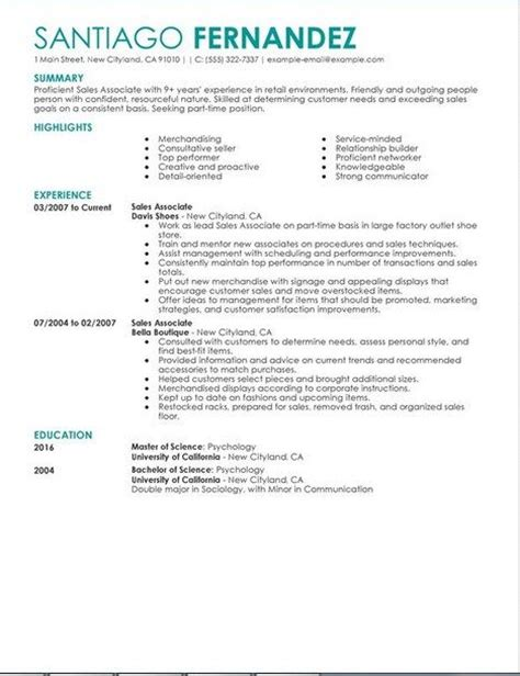 Sales Associate Qualifications Resume by 17 Best Ideas About Sle Of Resume On Resume