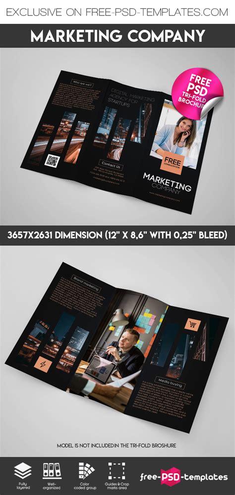 Marketing Free Tri Fold Psd Brochure Template By Free Marketing Company Tri Fold Brochure In Psd Free Psd