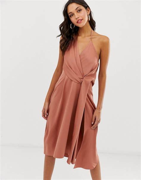 asos drape dress asos design minimal drape midi dress in satin asos