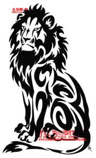 Black White Tribal Lion Tattoo