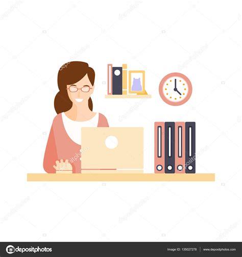 employ馥 de bureau heureux employé de bureau de femme souriant dans armoire de bureau ayant personnage de dessin animé de situation routine quotidienne