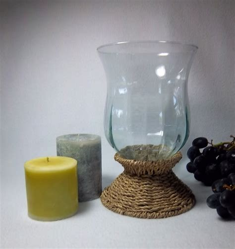 large hurricane ls for candles large hurricane glass and wicker candle holder with round