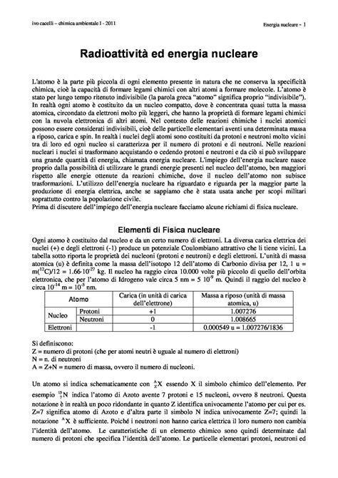 Fisica Nucleare Dispense by Radioattivit 224 Ed Energia Nucleare Dispense