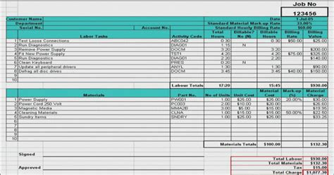 labor materials cost estimator sheet