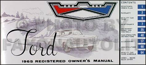 car repair manuals online pdf 1964 ford galaxie security system 1965 ford galaxie owners manual 65 500 ltd xl custom registered owner guide book ebay