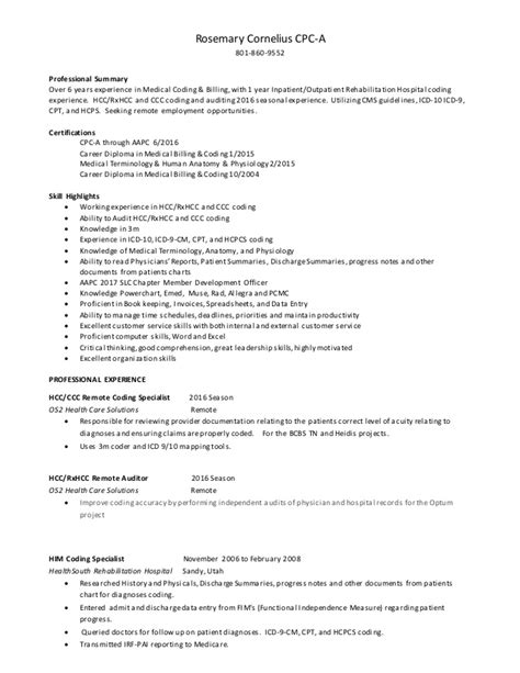 rosemary cornelius coding resume