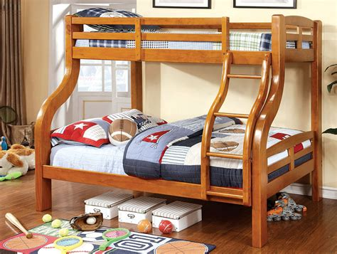 Standard loft bunk beds have a top bed that's usually accompanied by an open space underneath it. Solpine Twin/Full Bunk Bed In Oak - Shop for Affordable Home Furniture, Decor, Outdoors and more