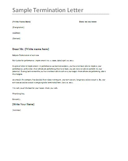 termination letter template sle termination letter