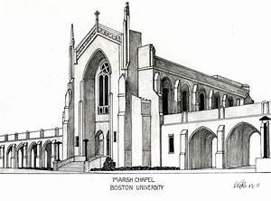 Boston University Marsh Chapel Drawing by Frederic Kohli