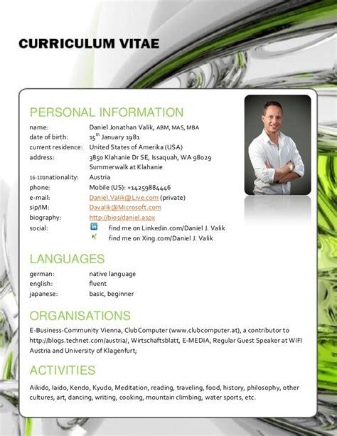 Curriculum Vitae Or Resume In Usa by Curriculum Vitae Daniel Jonathan Valik International Version