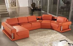 2315b modern orange leather sectional sofa for Contemporary orange sectional sofa