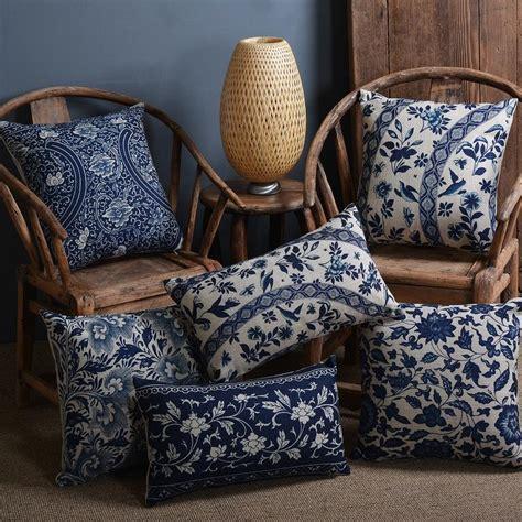 blue floral throw pillows vintage blue floral pillow cushion cover decorative