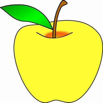 Apple Clip Clipart Yellow Cliparts Transparent Clker