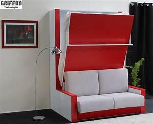 Meuble Lit Escamotable : lit escamotable griffon avec un canap haut de gamme dans un meuble fonctionnel et design ~ Farleysfitness.com Idées de Décoration
