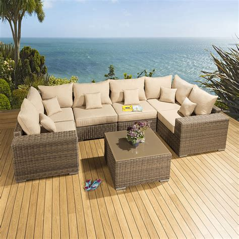 luxury outdoor garden u shape corner sofa set mocha
