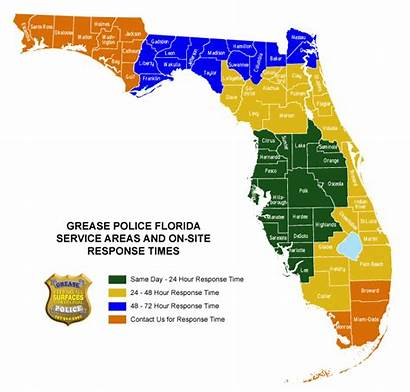 Florida Areas Grease Police Map Blasting Dry