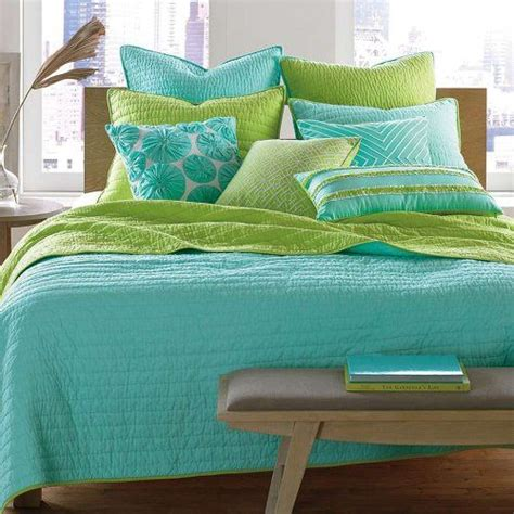 nostalgia aqua pick stitch lime 5pc full queen quilt set