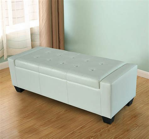Ottoman Storage White by Homcom Modern Faux Leather Ottoman Footrest Sofa Shoe