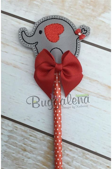 elephant pencil topper embroidery design
