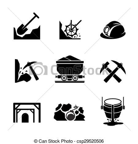 mining  ore extraction icons mineral industry