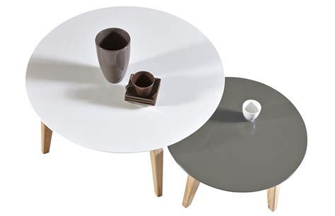 ensemble chaise et table de jardin lot de 2 tables basses scandinave rondes pièce à vivre