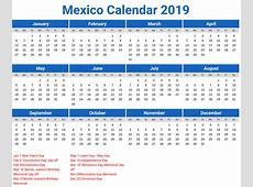 Mexico Calendar 2019 printcalendarxyz