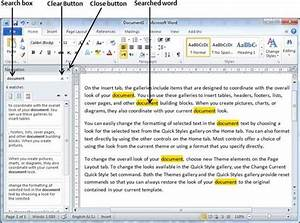 Find replace in word 2010 for Search documents in word