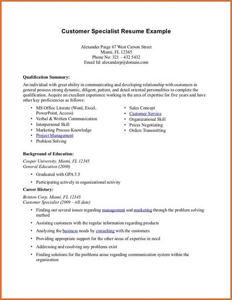 resume summary cv exles word