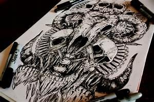 skull drawings by a called e g the freak scene360