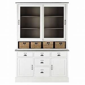 Vaisselier Blanc Et Bois : vaisselier en bois blanc l 145 cm sorgues maisons du monde ~ Nature-et-papiers.com Idées de Décoration