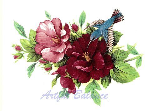 ceramic decals hummingbird hibiscus floral flower