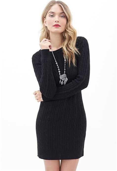 forever 21 sweater dress forever 21 contemporary cable knit sweater dress in black