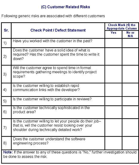 Risk Assessment and Analysis Checklist - Software Testing ...