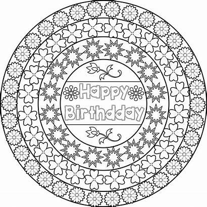 Coloring Birthday Pages Happy Printable Mandala Adults