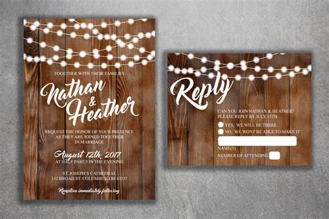 Country Wedding Invitations Set Printed Rustic Wedding