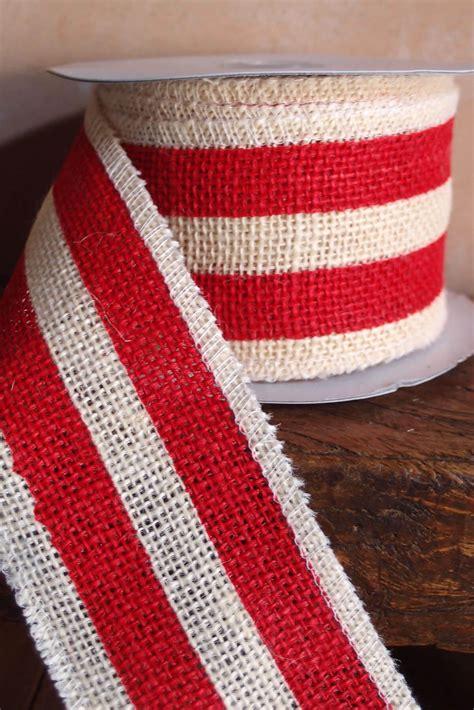 red white striped burlap ribbon  width   yds