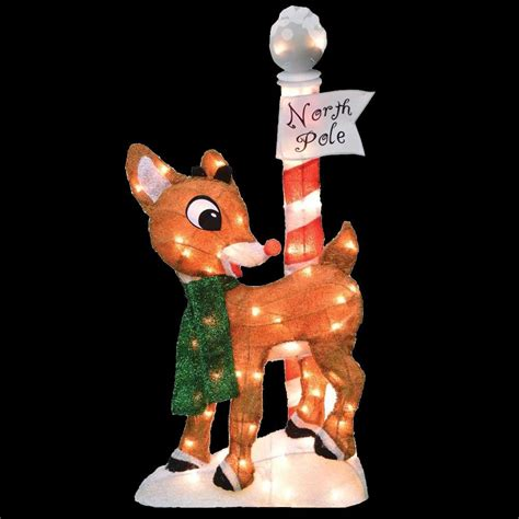 rudolph 32 in led 2d pre lit yard art north pole 90308