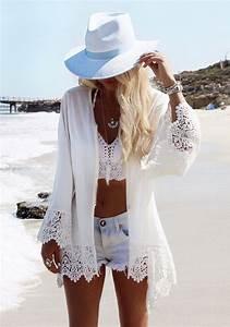 White Eagle Print Lace Fringe Cardigan Bohemia Beach Cover ...