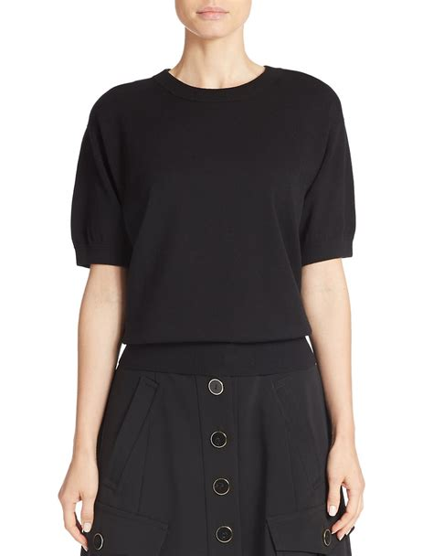 cropped black sweater dkny cropped sleeve sweater in black lyst