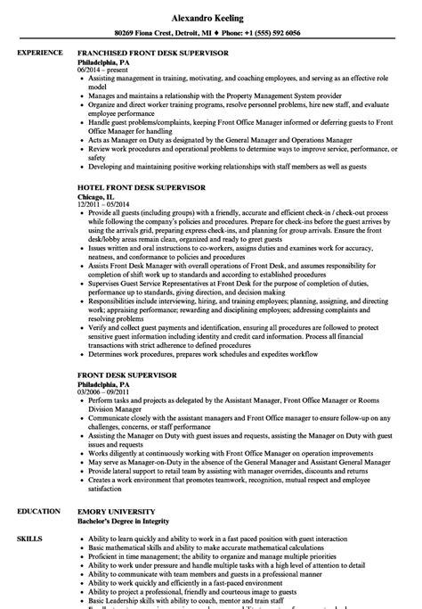 Front Desk Supervisor Resume Samples   Velvet Jobs