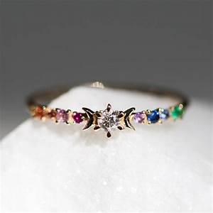 rainbow stardust ring wedding engagement catbird With rainbow wedding rings