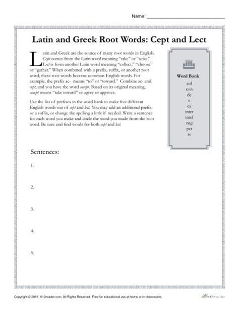 Greek And Latin Root Words Worksheets  Cept And Lect