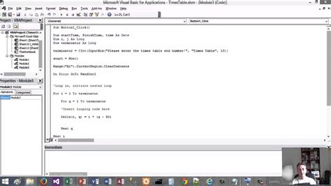 Excel Vba Tutorial 12  For Loop To Create Multiplication Table Youtube