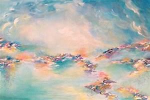 SEA TO SKY, Colorful Original Pastel Aqua Turquoise Blue Art